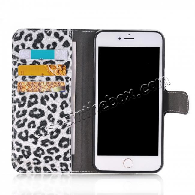 best price Leopard Skin Leather Folio Stand Wallet Case for iPhone 8 Plus 5.5 inch - White