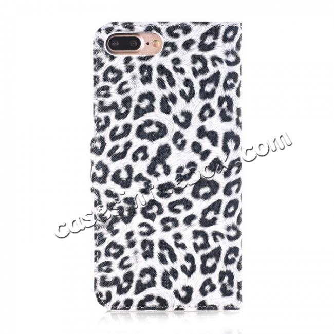 discount Leopard Skin Leather Folio Stand Wallet Case for iPhone 8 Plus 5.5 inch - White