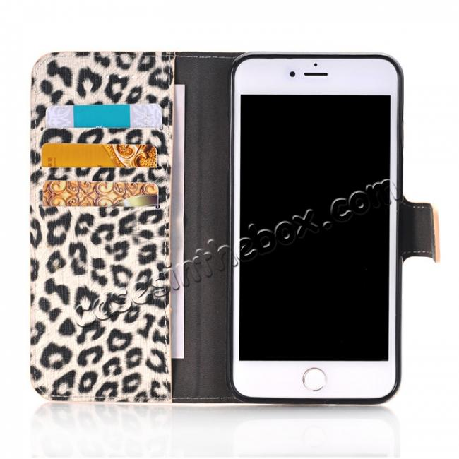 best price Leopard Skin Leather Folio Stand Wallet Case for iPhone 8 Plus 5.5 inch - Yellow