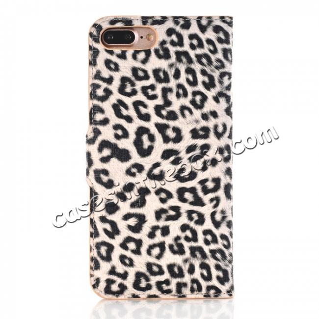 discount Leopard Skin Leather Folio Stand Wallet Case for iPhone 8 Plus 5.5 inch - Yellow