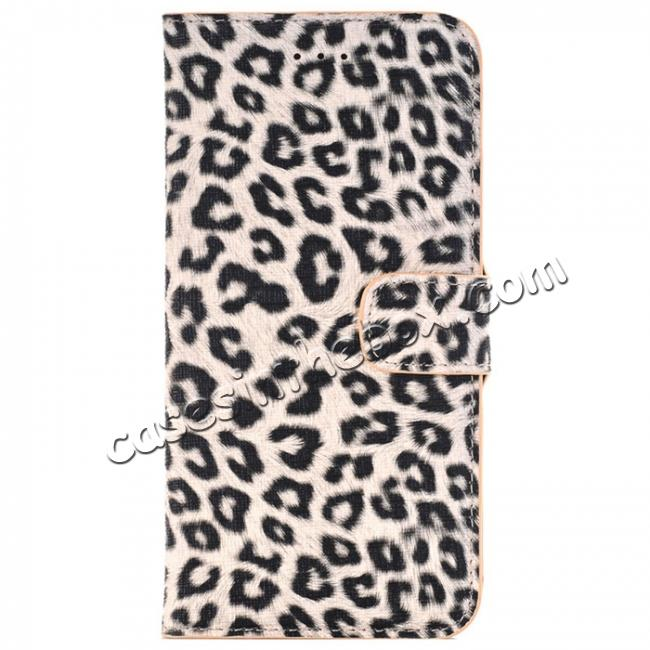 wholesale Leopard Skin Leather Folio Stand Wallet Case for iPhone 8 Plus 5.5 inch - Yellow