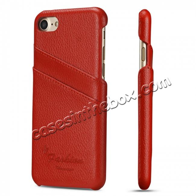 wholesale Litchi Skin Real Genuine Leather Back Card Slots Case Cover For iPhone 8 4.7 inch - Red
