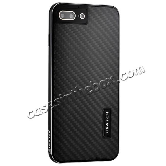wholesale Luxury Aluminum Metal Carbon Fiber Stand Cover Case For iPhone 8 Plus 5.5 inch - Black