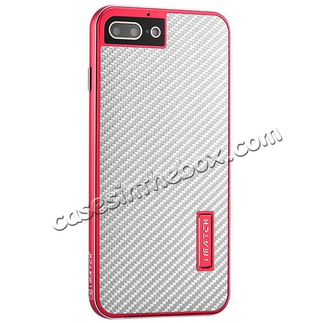 wholesale Luxury Aluminum Metal Carbon Fiber Stand Cover Case For iPhone 8 Plus 5.5 inch - Red&Silver
