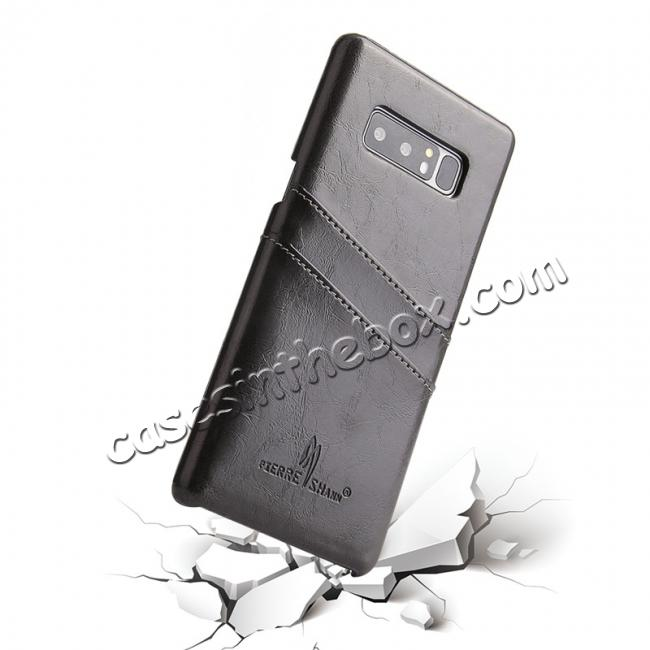 best price Luxury Card Slot Wax Oil Leather Case Cover For Samsung Galaxy Note 8 - Black