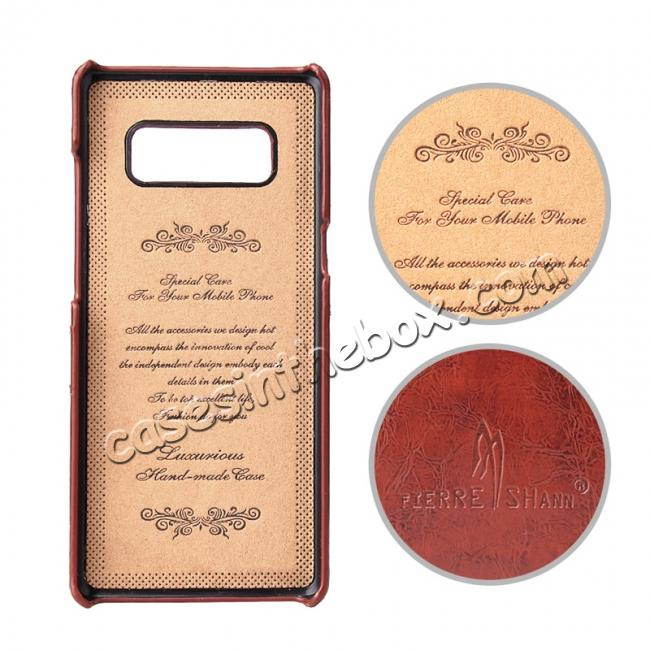 discount Luxury Card Slot Wax Oil Leather Case Cover For Samsung Galaxy Note 8 - Brown