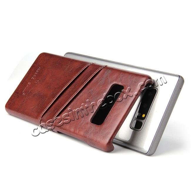 top quality Luxury Card Slot Wax Oil Leather Case Cover For Samsung Galaxy Note 8 - Brown