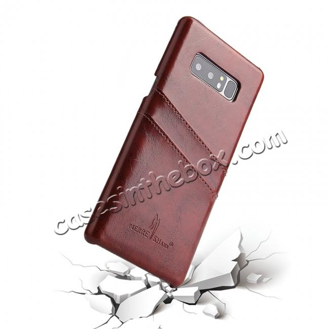 best price Luxury Card Slot Wax Oil Leather Case Cover For Samsung Galaxy Note 8 - Brown