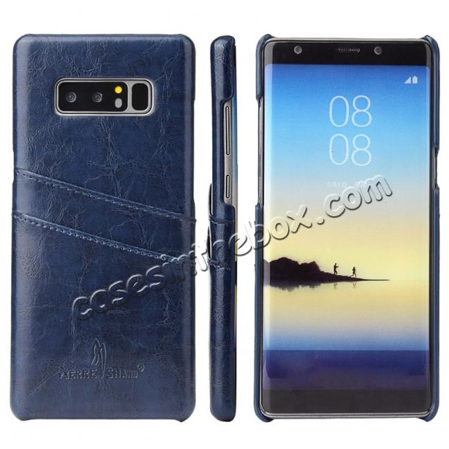 wholesale Luxury Card Slot Wax Oil Leather Case Cover For Samsung Galaxy Note 8 - Dark Blue