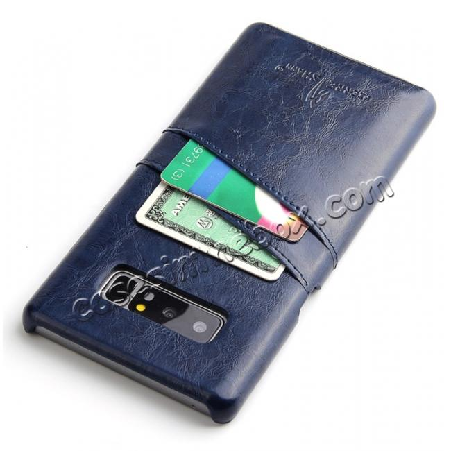 cheap Luxury Card Slot Wax Oil Leather Case Cover For Samsung Galaxy Note 8 - Dark Blue