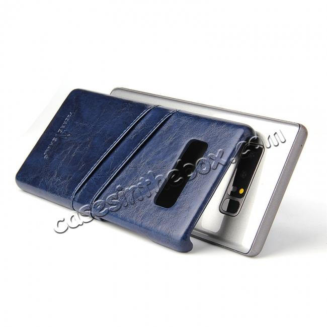 top quality Luxury Card Slot Wax Oil Leather Case Cover For Samsung Galaxy Note 8 - Dark Blue
