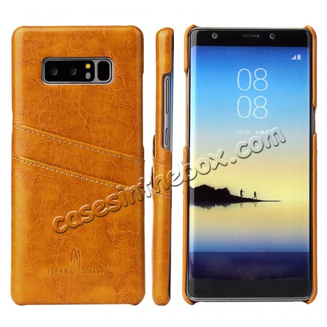wholesale Luxury Card Slot Wax Oil Leather Case Cover For Samsung Galaxy Note 8 - Orange