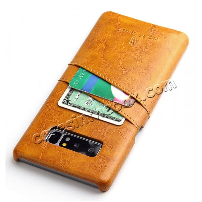 cheap Luxury Card Slot Wax Oil Leather Case Cover For Samsung Galaxy Note 8 - Orange