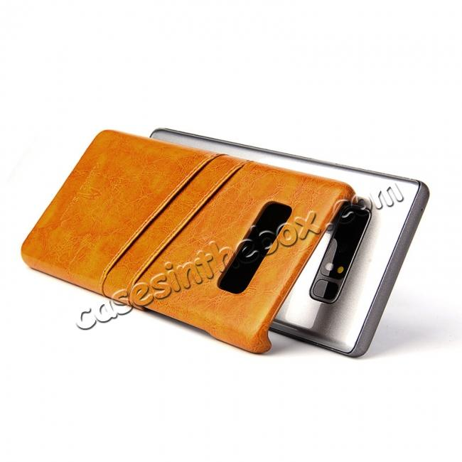 top quality Luxury Card Slot Wax Oil Leather Case Cover For Samsung Galaxy Note 8 - Orange