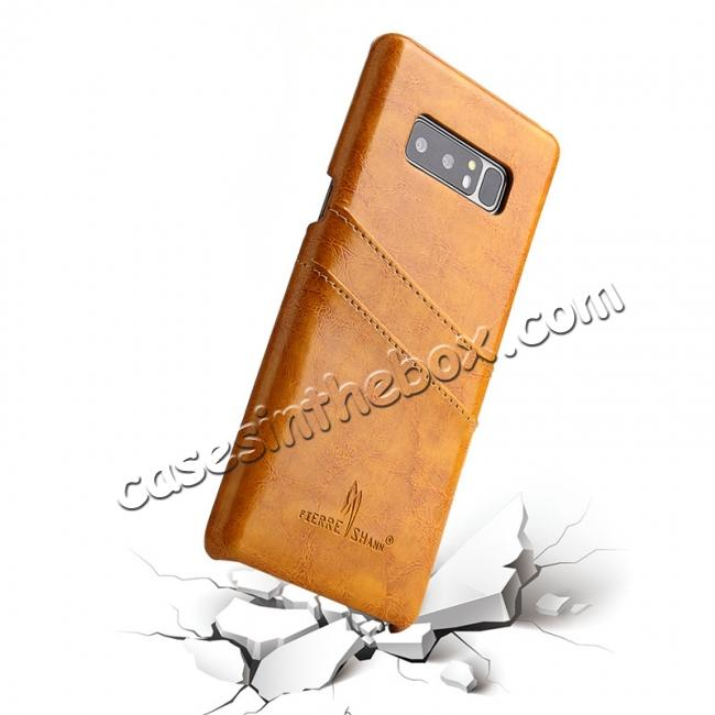 best price Luxury Card Slot Wax Oil Leather Case Cover For Samsung Galaxy Note 8 - Orange