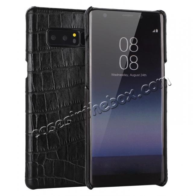wholesale Luxury Crocodile Genuine Leather Back Protective Case Cover for Samsung Galaxy Note 8 - Black