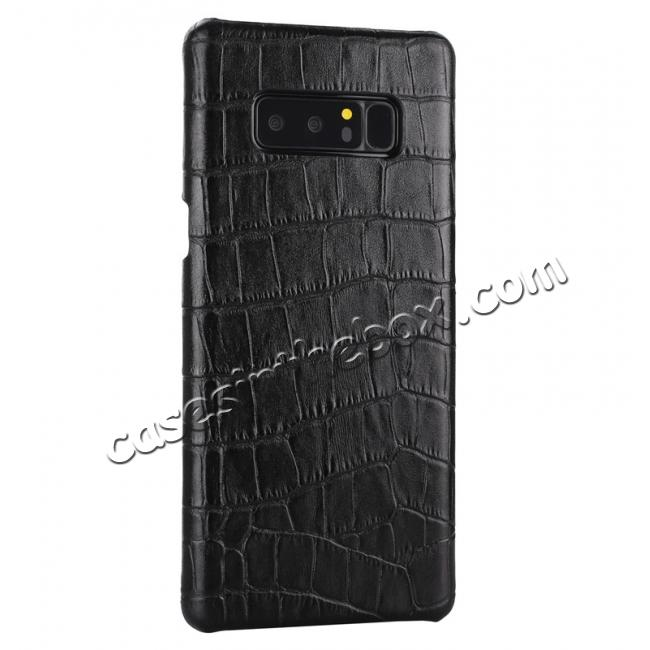 cheap Luxury Crocodile Genuine Leather Back Protective Case Cover for Samsung Galaxy Note 8 - Black