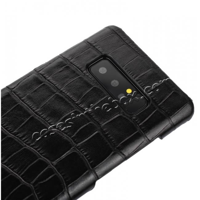 top quality Luxury Crocodile Genuine Leather Back Protective Case Cover for Samsung Galaxy Note 8 - Black