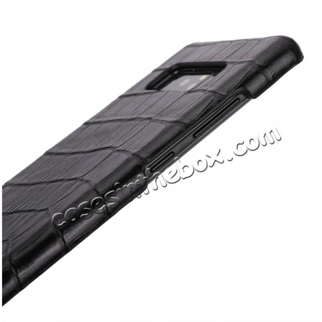 best price Luxury Crocodile Genuine Leather Back Protective Case Cover for Samsung Galaxy Note 8 - Black
