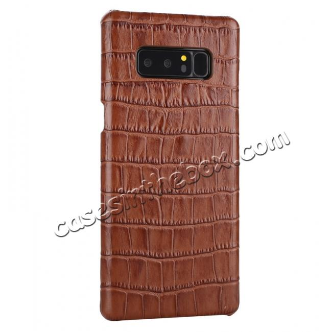 cheap Luxury Crocodile Genuine Leather Back Protective Case Cover for Samsung Galaxy Note 8 - Brown