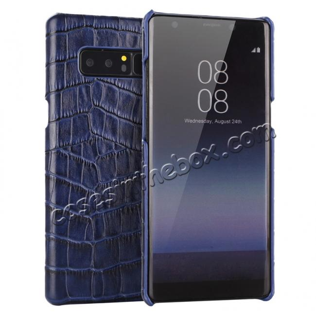 wholesale Luxury Crocodile Genuine Leather Back Protective Case Cover for Samsung Galaxy Note 8 - Navy Blue