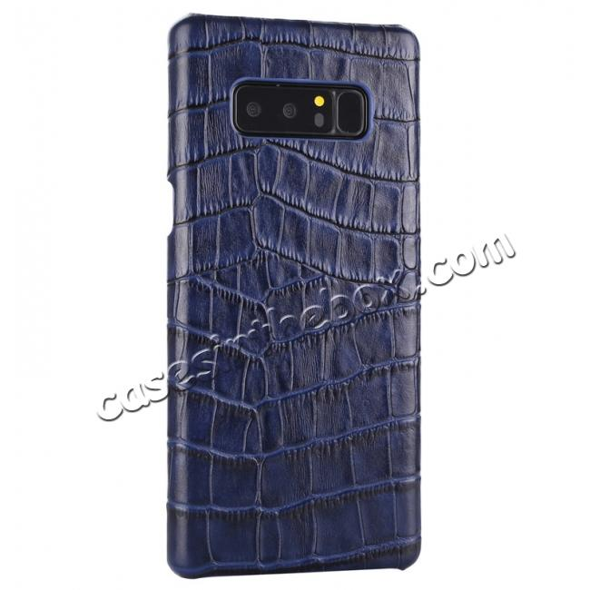 discount Luxury Crocodile Genuine Leather Back Protective Case Cover for Samsung Galaxy Note 8 - Navy Blue