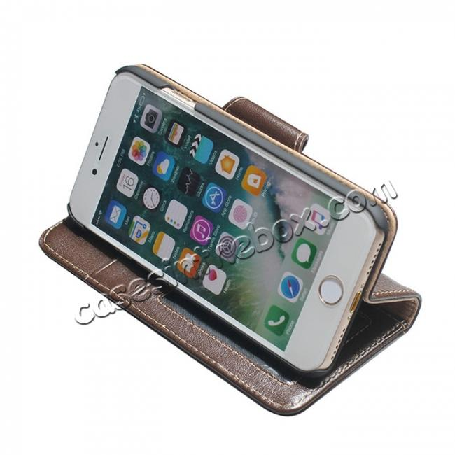 best price Luxury First Layer Cowhide Magnetic Flip Stand PC+Genuine Leather Case for iPhone 8 Plus 5.5 inch - Coffee