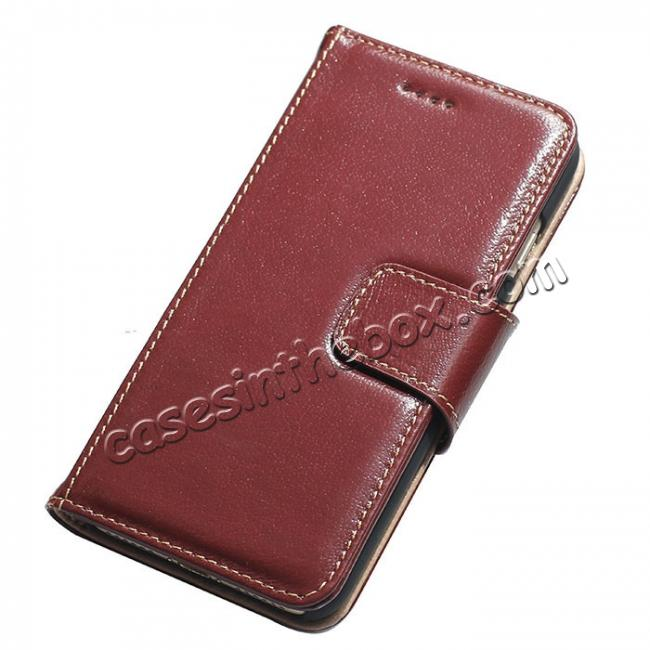 wholesale Luxury First Layer Cowhide Magnetic Flip Stand PC+Genuine Leather Case for iPhone 8 Plus 5.5 inch - Wine Red