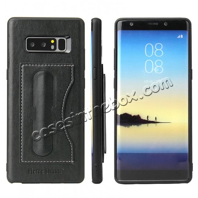 wholesale Luxury Genuine Leather Card Slot Back Case Kickstand for Samsung Galaxy Note 8 - Black