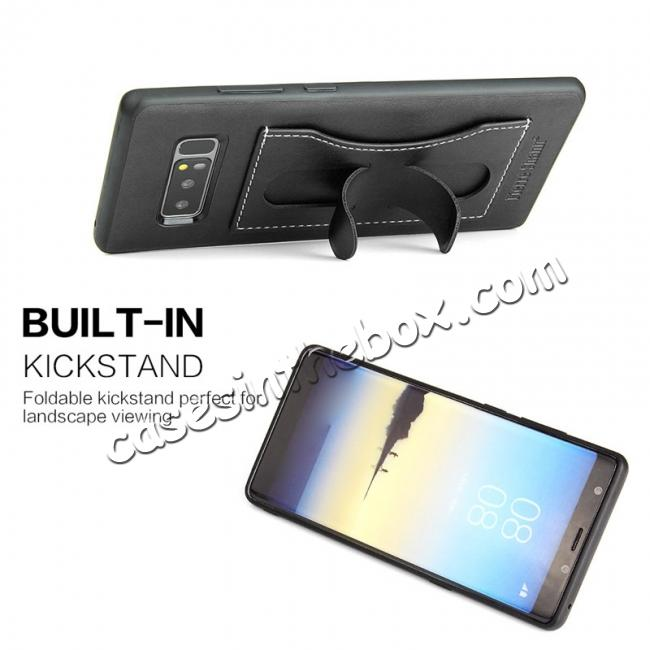 discount Luxury Genuine Leather Card Slot Back Case Kickstand for Samsung Galaxy Note 8 - Black