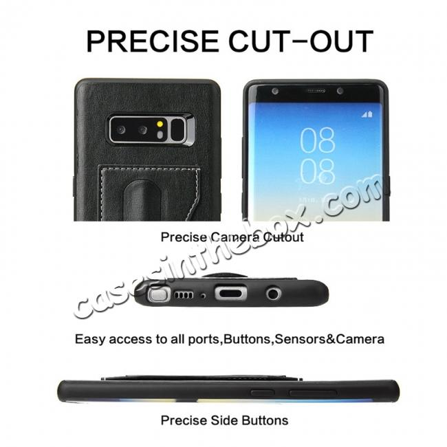 on sale Luxury Genuine Leather Card Slot Back Case Kickstand for Samsung Galaxy Note 8 - Black