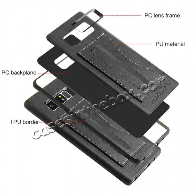 low price Luxury Genuine Leather Card Slot Back Case Kickstand for Samsung Galaxy Note 8 - Black