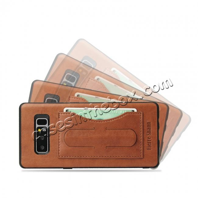 discount Luxury Genuine Leather Card Slot Back Case Kickstand for Samsung Galaxy Note 8 - Brown