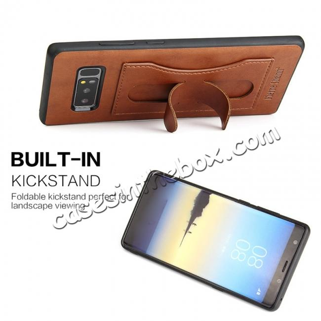 cheap Luxury Genuine Leather Card Slot Back Case Kickstand for Samsung Galaxy Note 8 - Brown