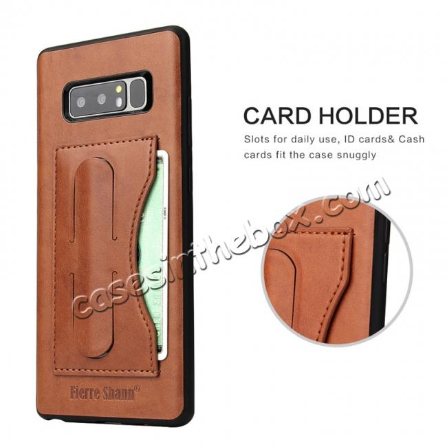 best price Luxury Genuine Leather Card Slot Back Case Kickstand for Samsung Galaxy Note 8 - Brown