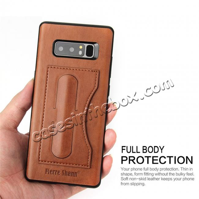 on sale Luxury Genuine Leather Card Slot Back Case Kickstand for Samsung Galaxy Note 8 - Brown