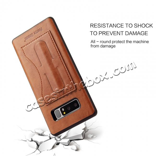 high quanlity Luxury Genuine Leather Card Slot Back Case Kickstand for Samsung Galaxy Note 8 - Brown