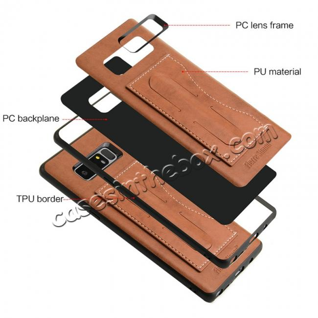 low price Luxury Genuine Leather Card Slot Back Case Kickstand for Samsung Galaxy Note 8 - Brown