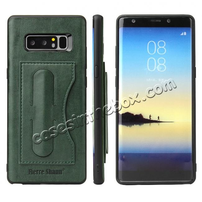 wholesale Luxury Genuine Leather Card Slot Back Case Kickstand for Samsung Galaxy Note 8 - Green
