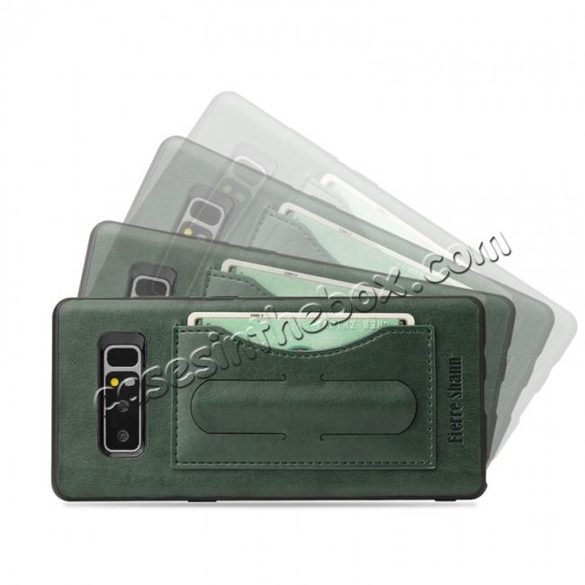 discount Luxury Genuine Leather Card Slot Back Case Kickstand for Samsung Galaxy Note 8 - Green