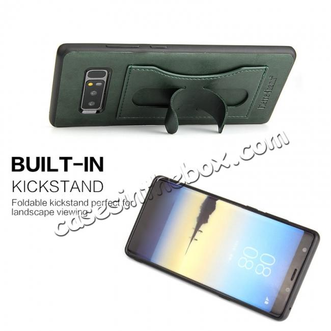 cheap Luxury Genuine Leather Card Slot Back Case Kickstand for Samsung Galaxy Note 8 - Green
