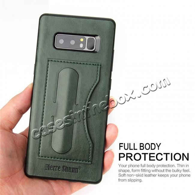 on sale Luxury Genuine Leather Card Slot Back Case Kickstand for Samsung Galaxy Note 8 - Green