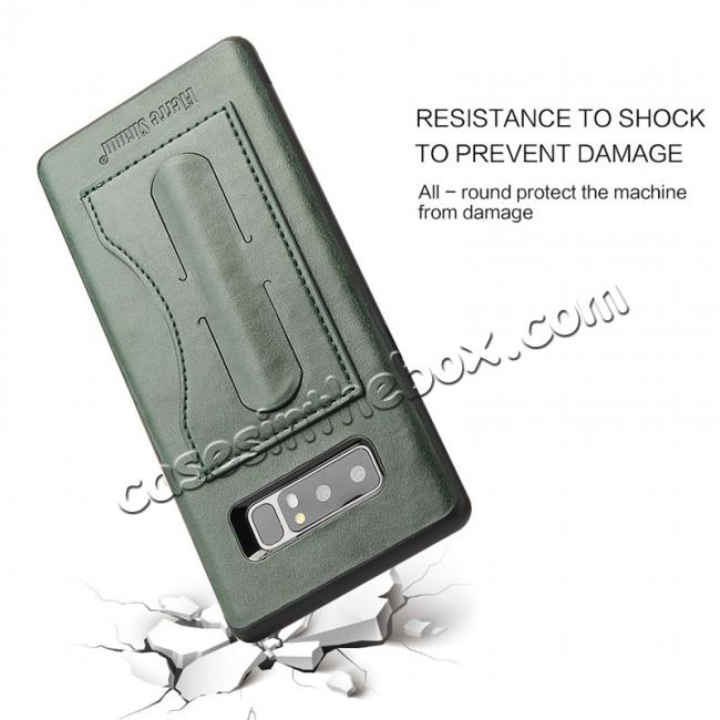 low price Luxury Genuine Leather Card Slot Back Case Kickstand for Samsung Galaxy Note 8 - Green