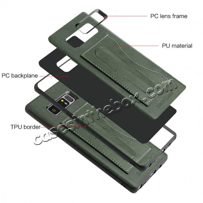 high quanlity Luxury Genuine Leather Card Slot Back Case Kickstand for Samsung Galaxy Note 8 - Green