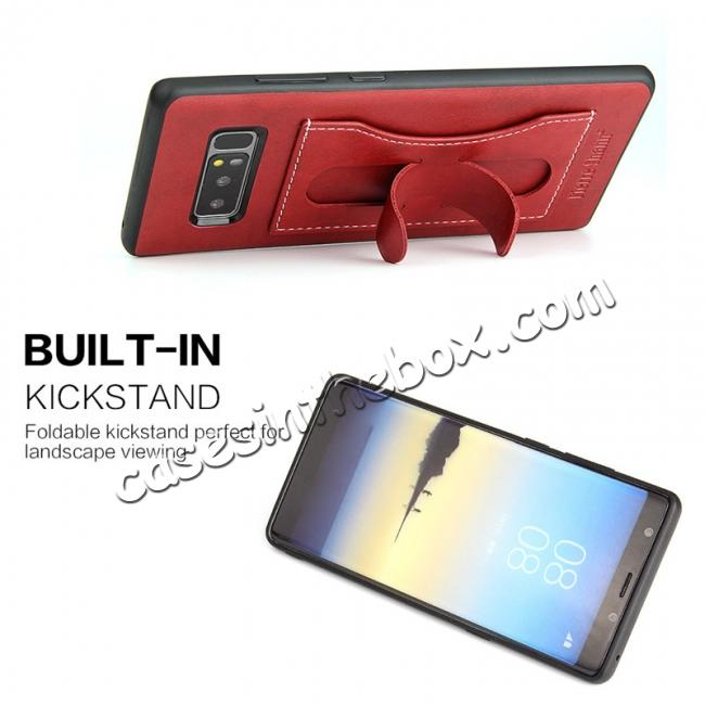 cheap Luxury Genuine Leather Card Slot Back Case Kickstand for Samsung Galaxy Note 8 - Red