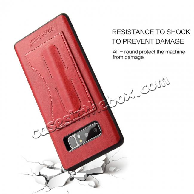 low price Luxury Genuine Leather Card Slot Back Case Kickstand for Samsung Galaxy Note 8 - Red