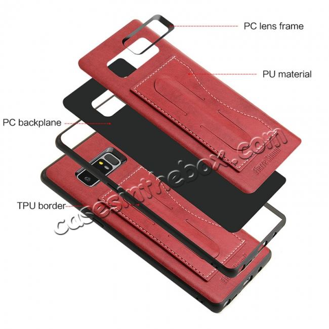 high quanlity Luxury Genuine Leather Card Slot Back Case Kickstand for Samsung Galaxy Note 8 - Red