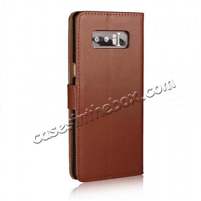 cheap Luxury Genuine Leather Magnetic Flip Wallet Case Stand Cover For Samsung Galaxy Note 8 - Brown