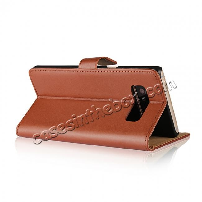 top quality Luxury Genuine Leather Magnetic Flip Wallet Case Stand Cover For Samsung Galaxy Note 8 - Brown