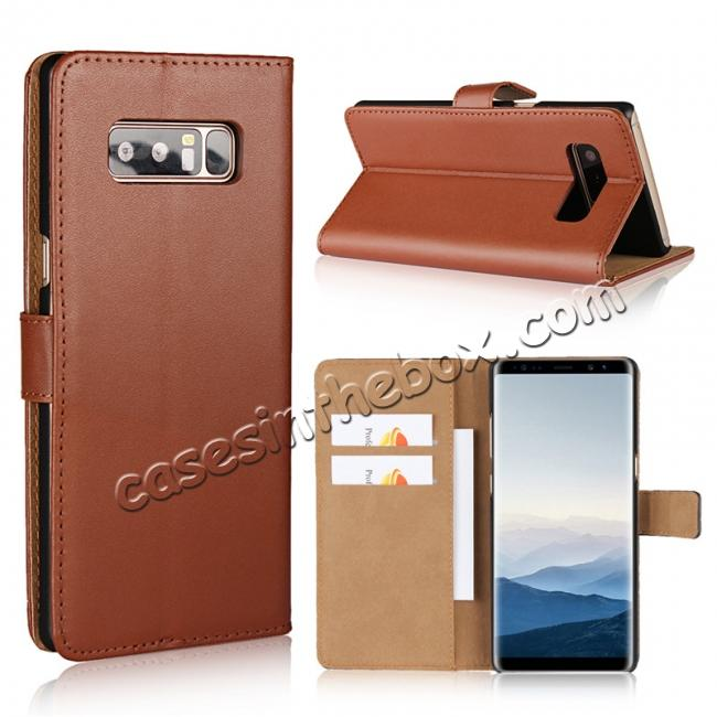 wholesale Luxury Genuine Leather Magnetic Flip Wallet Case Stand Cover For Samsung Galaxy Note 8 - Brown